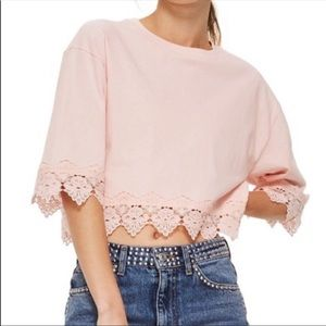 NWT TopShop cropped stripped lace top